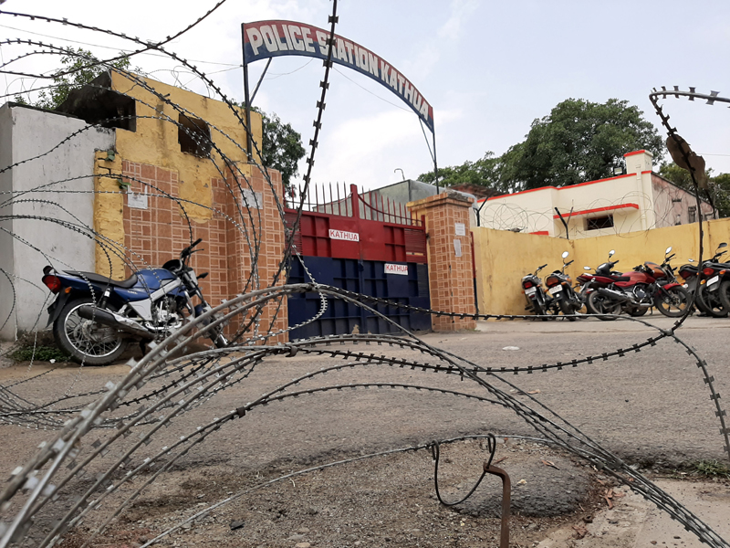 Kathua police station locked on Saturday.