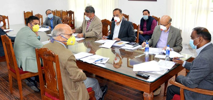 Lieutenant Governor Girish Chandra Murmu reviewing functioning of Education Department in Srinagar on Tuesday.