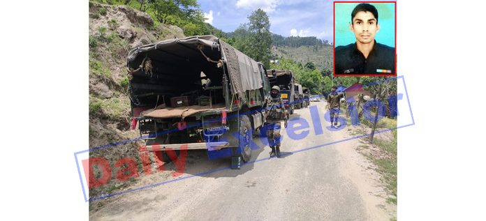Troops rush to the site of encounter in Doda on Sunday. (Inset) Martyr Lance Naik Raj Singh Khatana. — Excelsior/Tilak Raj