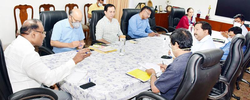 Lieutenant Governor Girish Chandra Murmu chairing a meeting in Jammu on Friday.