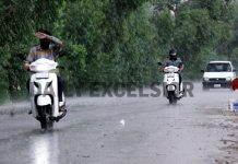 Rains lash Jammu City on Saturday afternoon. -Excelsior/Rakesh