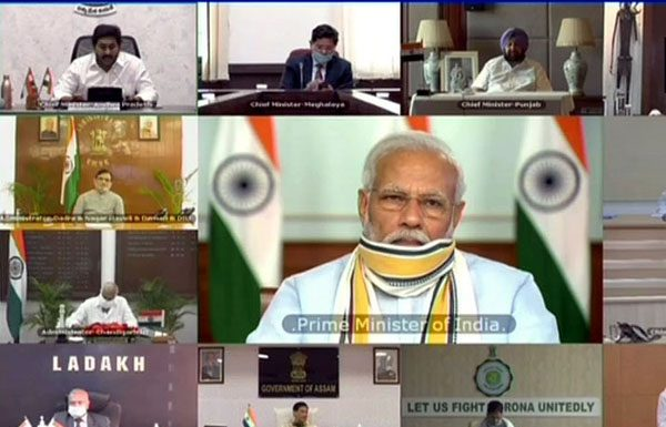 Prime Minister Narendra Modi in video conference with Chief Ministers on Monday.