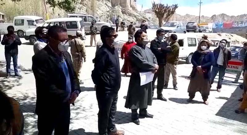 CEC LAHDC Leh Executive Councilors and Councilors protest outside the Raj Bhawan in Leh on Monday. —Excelsior/Morup Stanzin