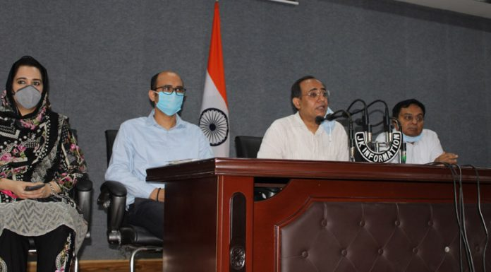 Govt spokesman Rohit Kansal addressing a press conference in Jammu on Thursday.