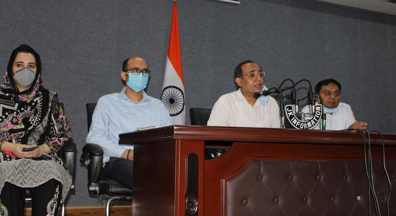 Govt spokesman Rohit Kansal addressing a press conference in Jammu on Thursday.
