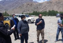 CEC LAHDC, Leh Gyal P. Wangyal inspecting site of stadium at Leh.