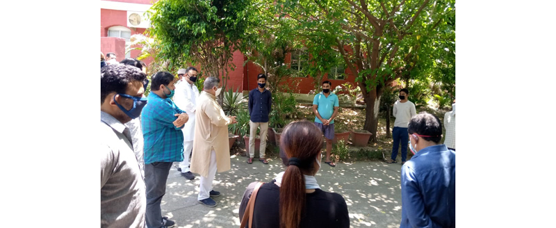 Former Minister, Sat Sharma during visit to quarantine centre in Jammu on Friday.
