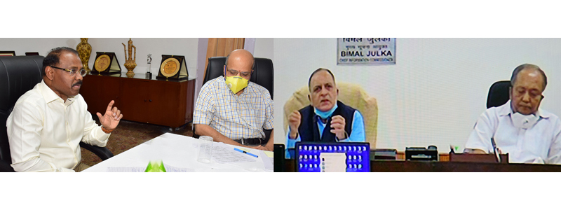 Lt Governor interacting with Chief Information Commissioner through video conference.