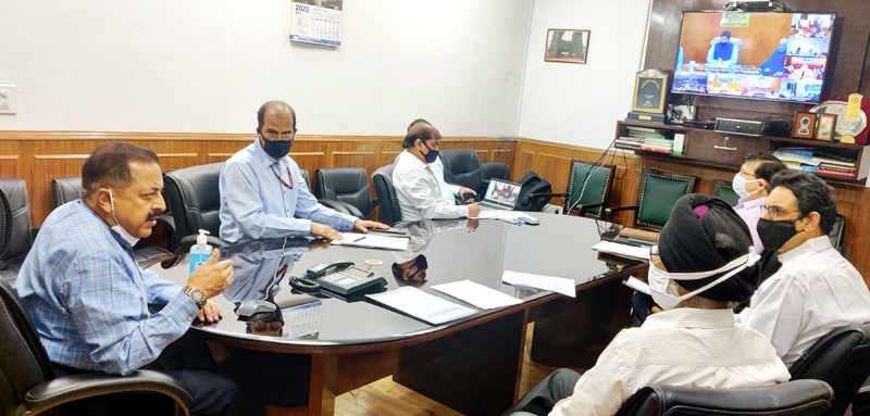 Union Minister Dr Jitendra Singh holding a video conference meeting to discuss COVID follow - up with Chief Secretaries and senior officers of the States of North Eastern Region, on Saturday.