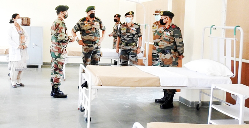 Western Army Commander Lt Gen R P Singh reviewing isolation facility at Army Public School Domana created for COVID-19 patients.