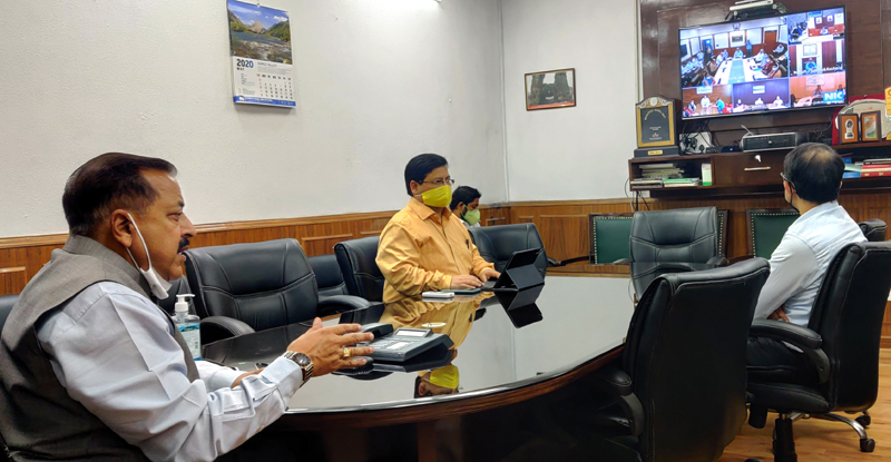 Union Minister Dr Jitendra Singh holding a video conference meeting with senior officers of J&K Health Department as well as Heads and faculty members of Government Medical Colleges and SKIMS, on Thursday.
