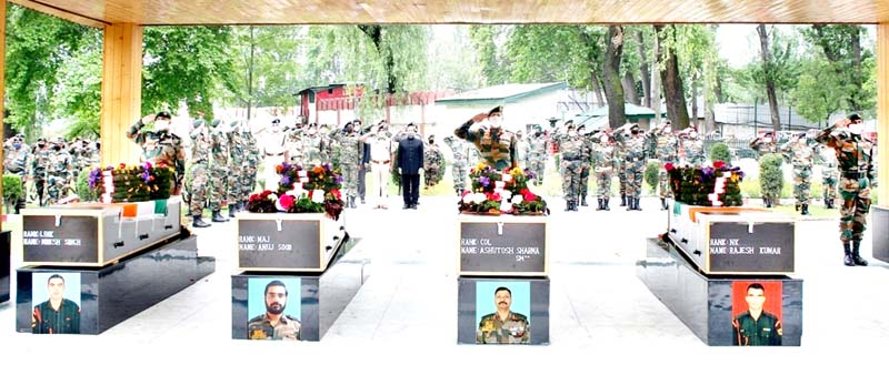 Martyrs of Handwara encounter being paid last respect by Army and other security agencies at Badami Bagh Cantonment in Srinagar.