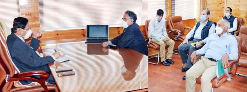 Advisor Rajeev Rai Bhatnagar chairing a meeting at Srinagar.