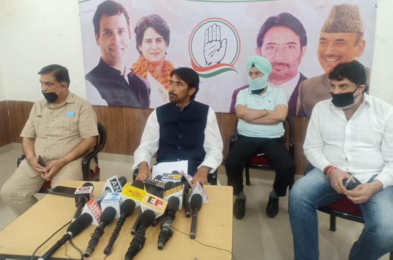 PCC chief GA Mir addressing press conference in Jammu on Sunday. —Excelsior/Rakesh