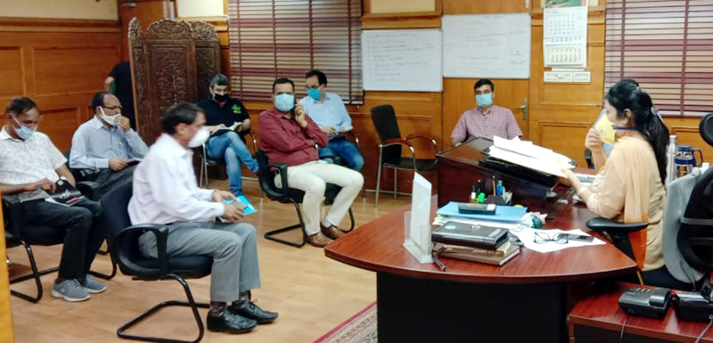 Director Industries, Anoo Malhotra chairing a meeting at Jammu on Saturday.