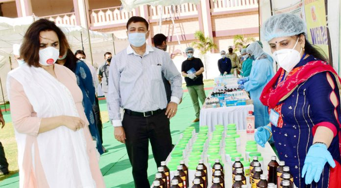 First Lady of the Union Territory of Jammu and Kashmir Dr Smita Murmu inspecting medical stalls established at quarantine centre in Samba on Saturday.