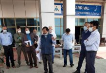 Principal Secretary, Dheeraj Gupta during visit to Srinagar Airport.