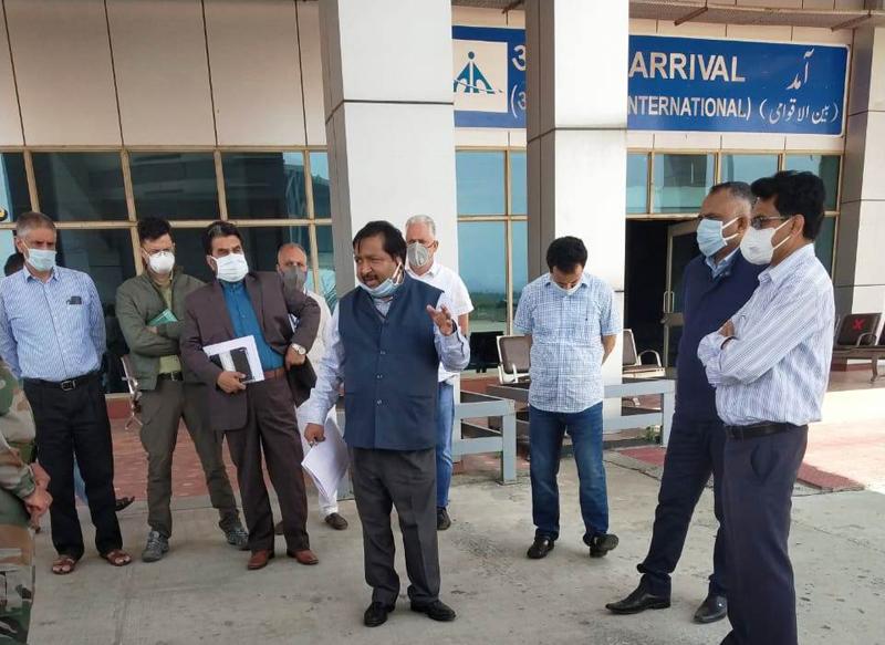 Principal Secretary, Dheeraj Gupta during visit to Srinagar Airport.