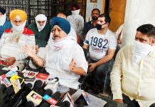 Chairman, All J&K Transport Welfare Association, T S Wazir addressing press conference in Jammu on Saturday. -Excelsior/Rakesh