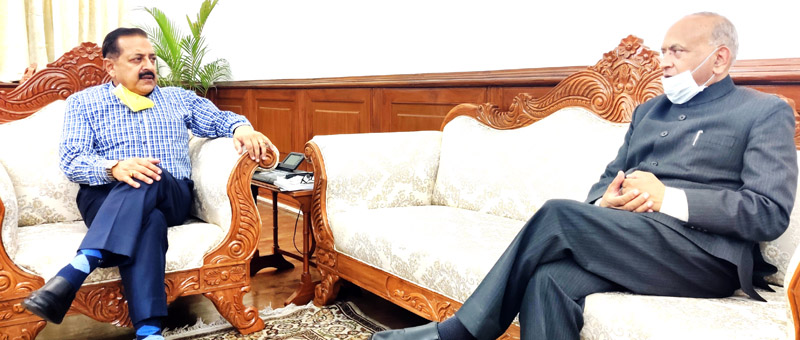 Ladakh Lieutenant Governor, R K Mathur calling on Union Minister Dr Jitendra Singh at North Block, New Delhi on Tuesday.