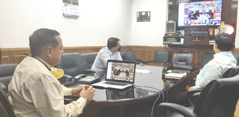 Union Minister Dr Jitendra Singh holding a video conference meeting with Deputy Commissioners and Chief Medical Officers of all the 20 districts of Jammu & Kashmir, on Wednesday.