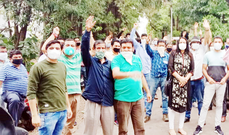 PPEU activists staging protest in Jammu.