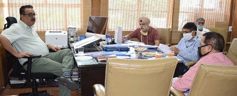 Principal Secretary Agriculture Navin Kumar Choudhary chairing a meeting at Jammu on Wednesday.