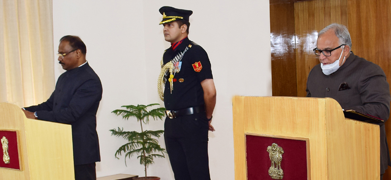 Lieutenant Governor administering oath to B R Sharma as Chairman JKPSC.