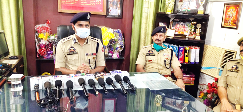 SSP Jammu Shridhar Patil interacting with media persons.