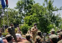 DGP Dilbag Singh addressing CRPF personnel.