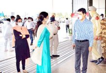 Div Com and DC at Jammu Airport to receive passengers on Monday.