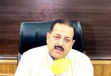 Union Minister Dr Jitendra Singh briefing the media about Corona status in Jammu & Kashmir and Northeast, on Monday.