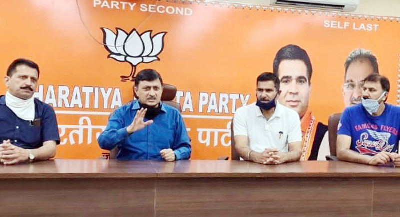 BJP leaders during a press conference at Jammu on Tuesday.