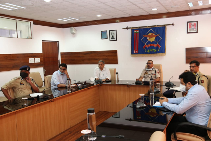 DGP Dilbag Singh chairing a meeting with the senior police officers.