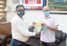BJP leader Ashwani Kumar Chrungoo presenting a book to CS BVR Subramanyam at Civil Secretariat Jammu on Tuesday.
