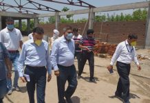 Mayor JMC, Chander Mohan Gupta inspecting development works in Jammu on Wednesday.