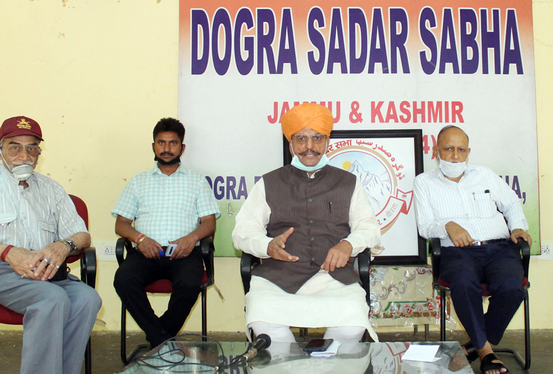 Former Minister and President DSS Th. Gulchain Singh Charak addressing media persons in Jammu on Tuesday. —Excelsior/Rakesh