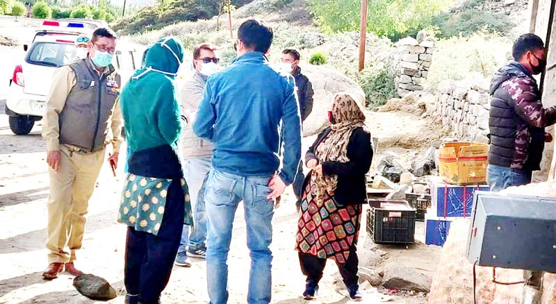 District Administration Leh conducting random check of people during lockdown.