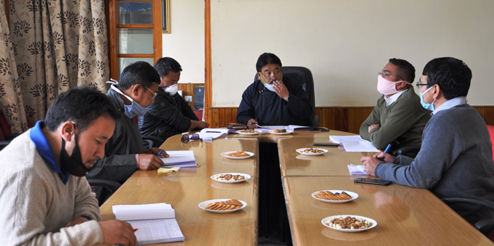 CEC Gyal P Wangyal chairing Executive Council meeting of LAHDC at Leh.