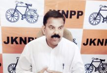 NPP chairman, Harsh Dev Singh addressing media persons in Jammu.