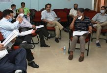 SKUAST-Jammu Academic Council meeting being held with social distancing norms.