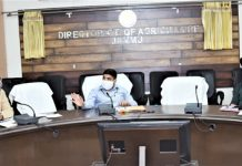 Director Agriculture, Inder Jeet chairing a meeting at Jammu on Tuesday.