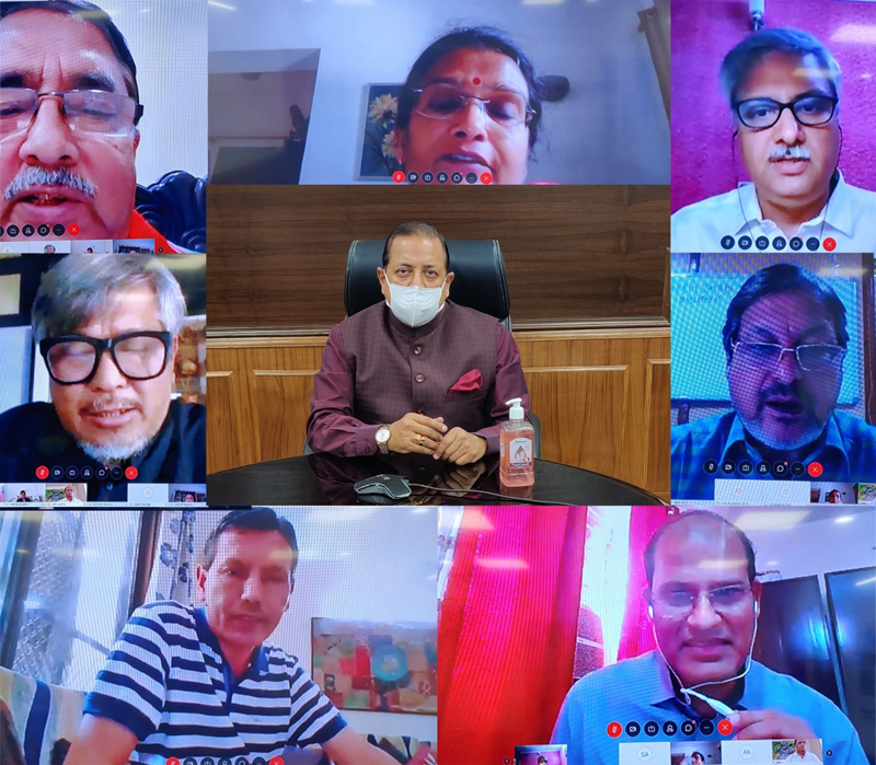 Union Minister Dr Jitendra Singh addressing 'Bamboo Conclave' in the context of COVID pandemic, through Video Conferencing,on Saturday.