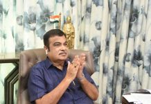 Union Minister for Road Transport & Highways and MSMEs Nitin Gadkari participating in breakthrough event of Chamba Tunnel under Chardham Pariyojana through video conference on Tuesday.