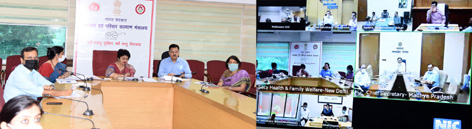 Secretary, Ministry of Health & Family Welfare, Preeti Sudan and the OSD, MoHFW, Rajesh Bhushan along with senior officers of the Health Ministry holding a high-level review meeting with the Chief Secretaries of Uttar Pradesh, Bihar, Jharkhand, Chhattisgarh and Madhya Pradesh through video conference, in New Delhi on Tuesday.