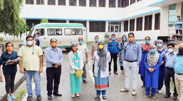 Corona patients being given send-off on being discharged from CD Hospital at Bakshi Nagar, Jammu on Saturday.