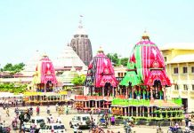 Chariots are seen ahead of the annual Ratha Yatra procession, in Puri.