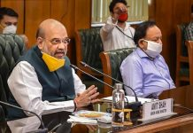 Union Home Minister Amit Shah with Health Minister Harsh Vardhan holds a meeting to discuss the COVID-19 situation in Delhi, at North Block in New Delhi on Sunday.