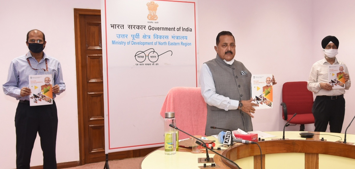 Union Minister Dr Jitendra Singh releasing a Book and its e-version on Northeast 2019-20 achievements, based on one year of the Ministry of Development of North Eastern Region (DoNER) in the second term of the Modi Govt.