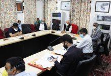 VC CUK, Prof Mehraj ud Din Mir chairing DIC Steering Committee meet in Srinagar.